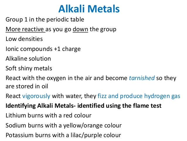 Chemistry revision igcse 5 alkali metals group 1 in the periodic table urtaz Gallery