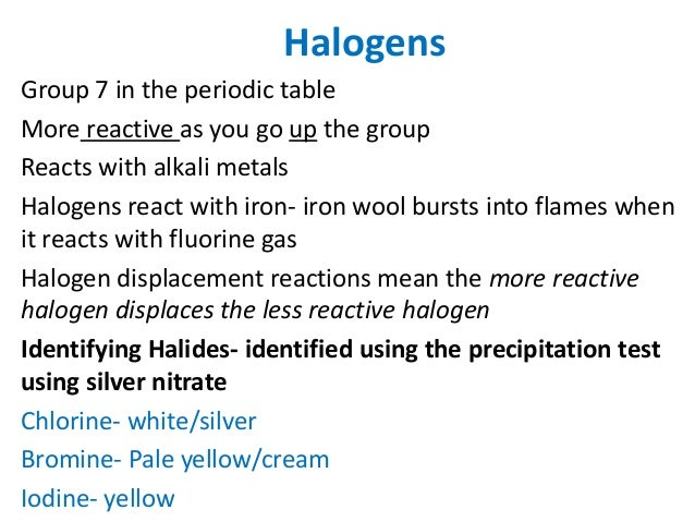 Chemistry revision igcse 6 halogens group 7 in the periodic table urtaz Gallery