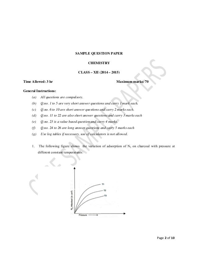 Chemistry Sample Paper 2014 15