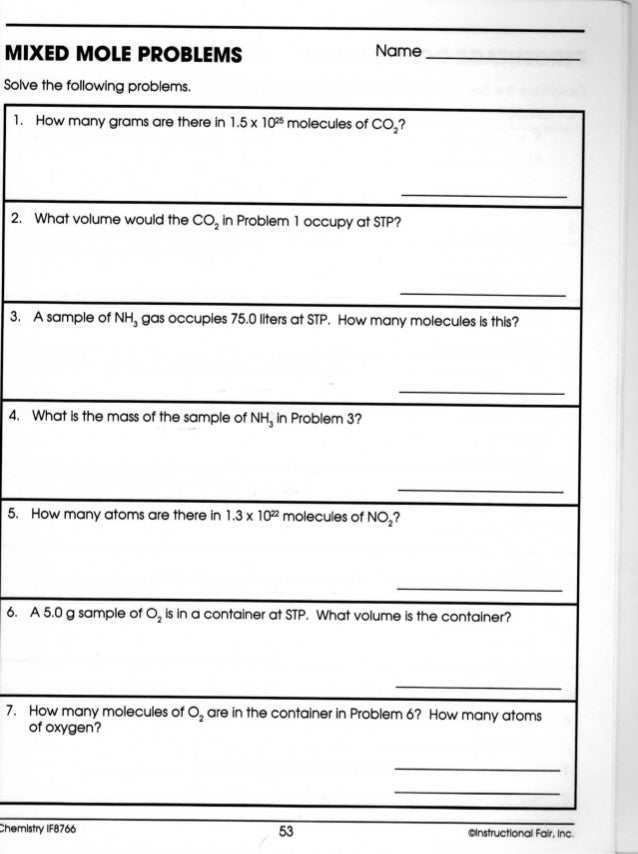 Chemistry stoichiometry – Mole Problems Worksheet