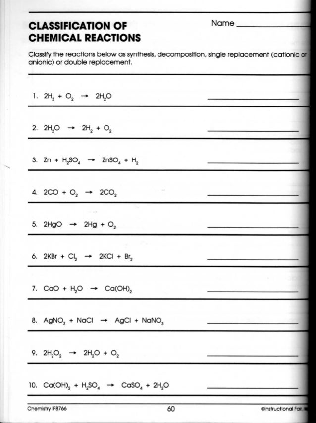 Printable Worksheets chemical reaction worksheets : Classification Of Chemical Reactions Worksheet Free Worksheets ...