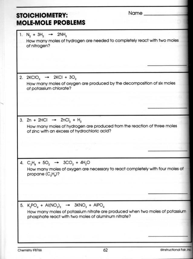 SCH3UI - Mole to Mole Stoichiometric Calculations Worksheet