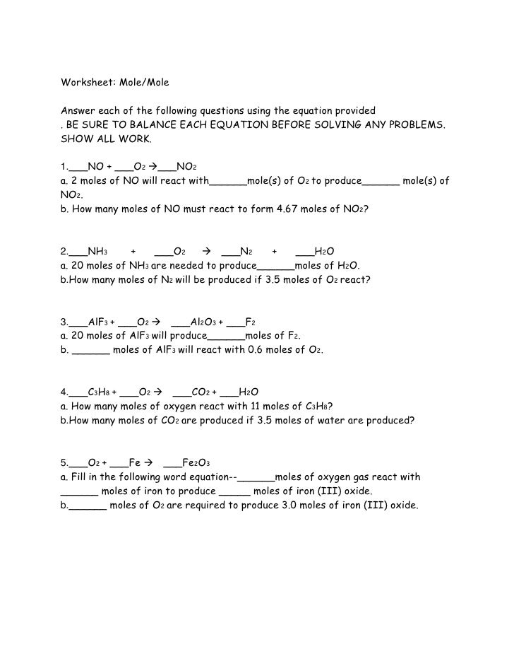 Stoichiometry Worksheet Mole To - Worksheet Kids