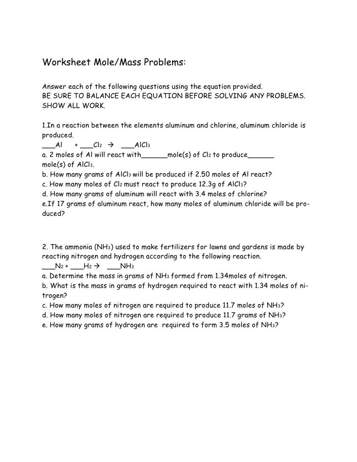Chemistry stoichiometry problems – Worksheet Mole Problems