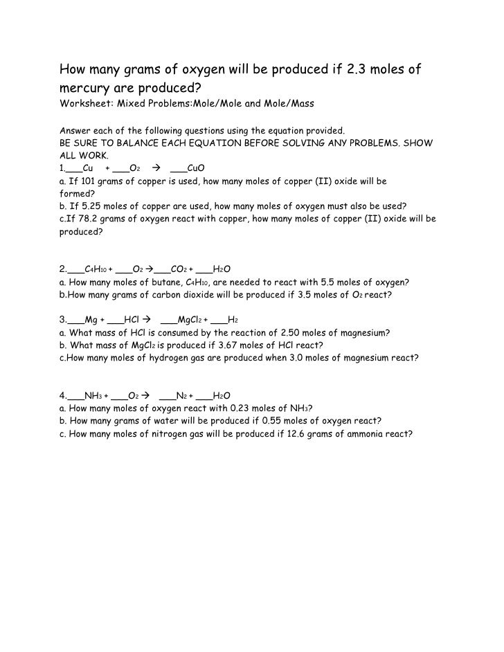 {Chemistry stoichiometry problems – Worksheet Mole Mole Problems