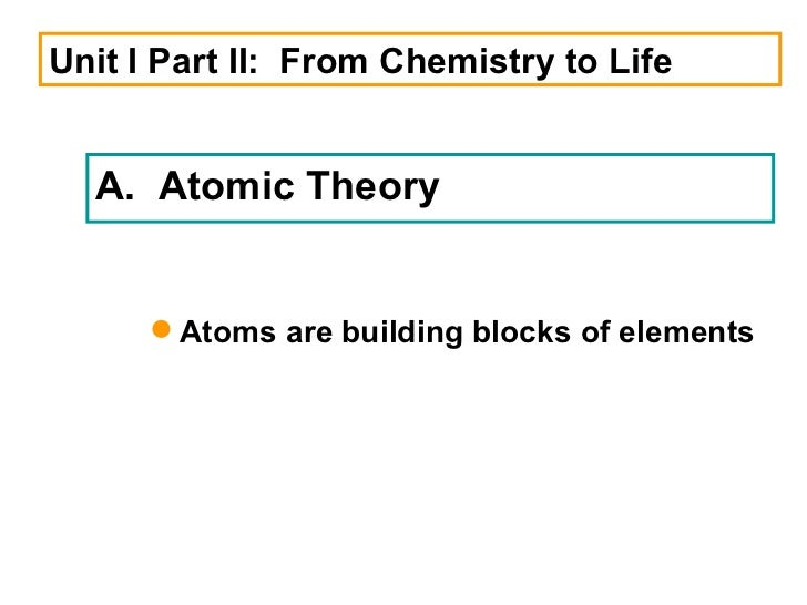 Unit I Part II:  From Chemistry to Life A.  Atomic Theory <ul><li>Atoms are building blocks of elements  </li></ul>