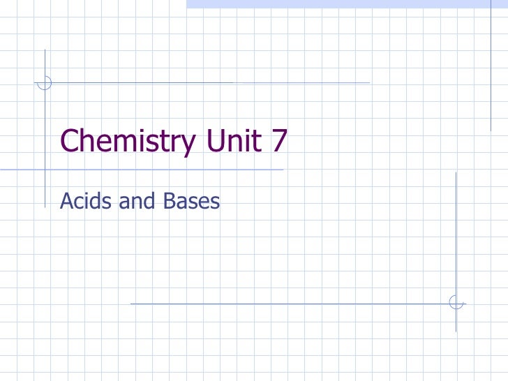 Chemistry Unit 7 Acids and Bases