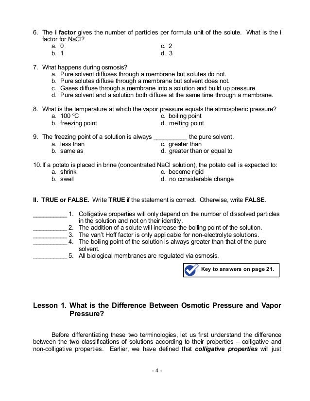 Solved: COLLIGATIVE PROPERTIES WORKSHEET B. Calculate The ...