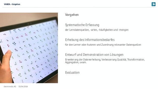 15/04/2018chemmedia AG Systematische Erfassung der Lerndatenquellen, -arten, -häufigkeiten und -mengen Erhebung des Inform...