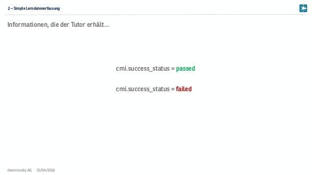 15/04/2018chemmedia AG 2 – Simple Lerndatenerfassung cmi.success_status = passed cmi.success_status = failed Informationen...