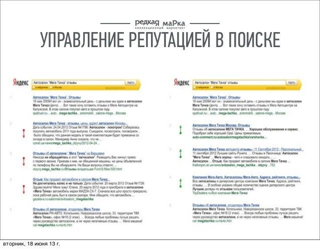 УПРАВЛЕНИЕ РЕПУТАЦИЕЙ В ПОИСКЕвторник, 18 июня 13г.