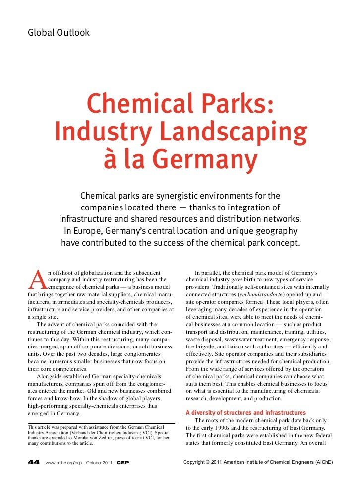 Global Outlook                Chemical Parks:             Industry Landscaping                 à la Germany               ...