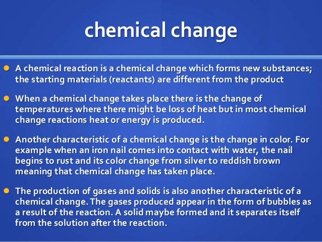 Chemical physical change review Color change definition science