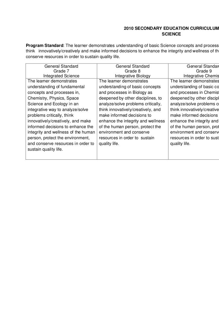 2010 SECONDARY EDUCATION CURRICULUM                                                                SCIENCEProgram Standard...