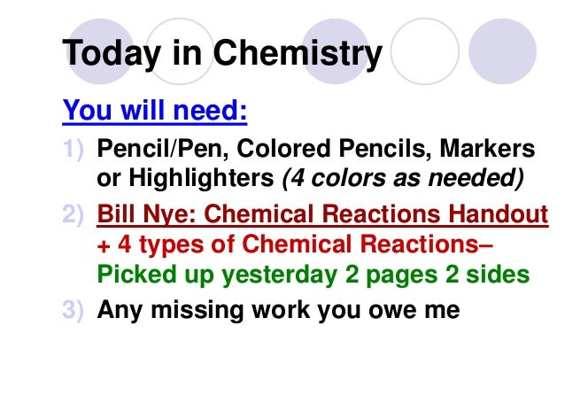 Today in Chemistry You will need: 1) Pencil/Pen, Colored Pencils, Markers or Highlighters (4 colors as needed) 2) Bill Nye...