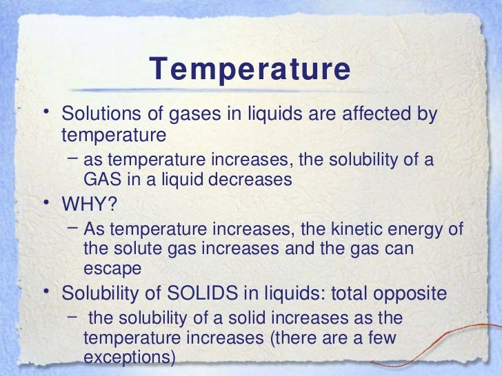 factors affecting solubility Factors affecting solubility outcomes: • explain how a change in temperature affects the solubility of gases • explain how a change in pressure affects the.