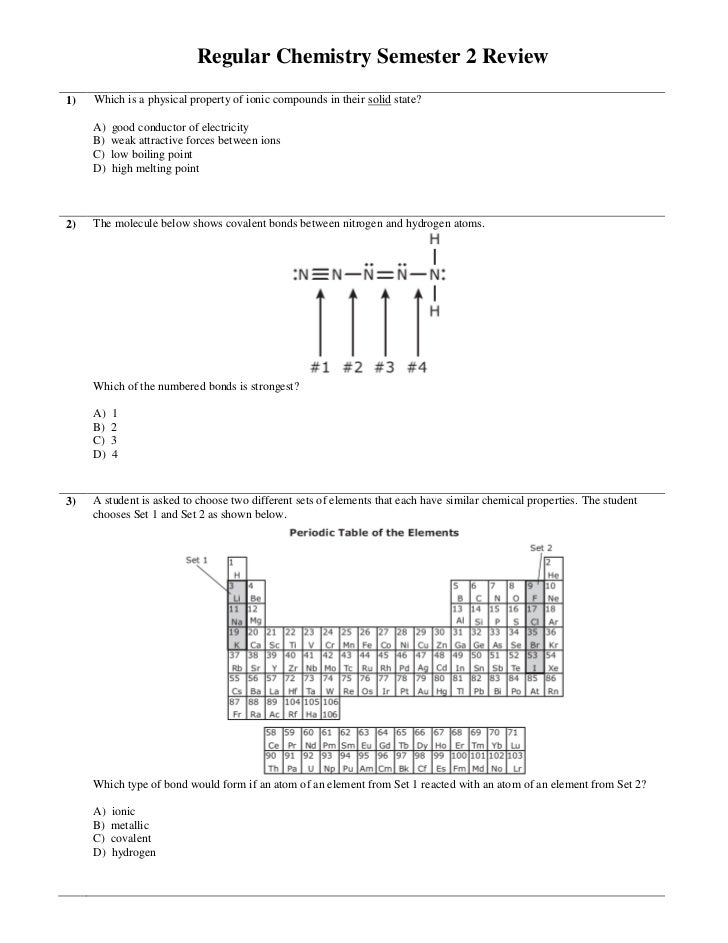 Regular Chemistry Semester 2 Review1)   Which is a physical property of ionic compounds in their solid state?     A)   goo...