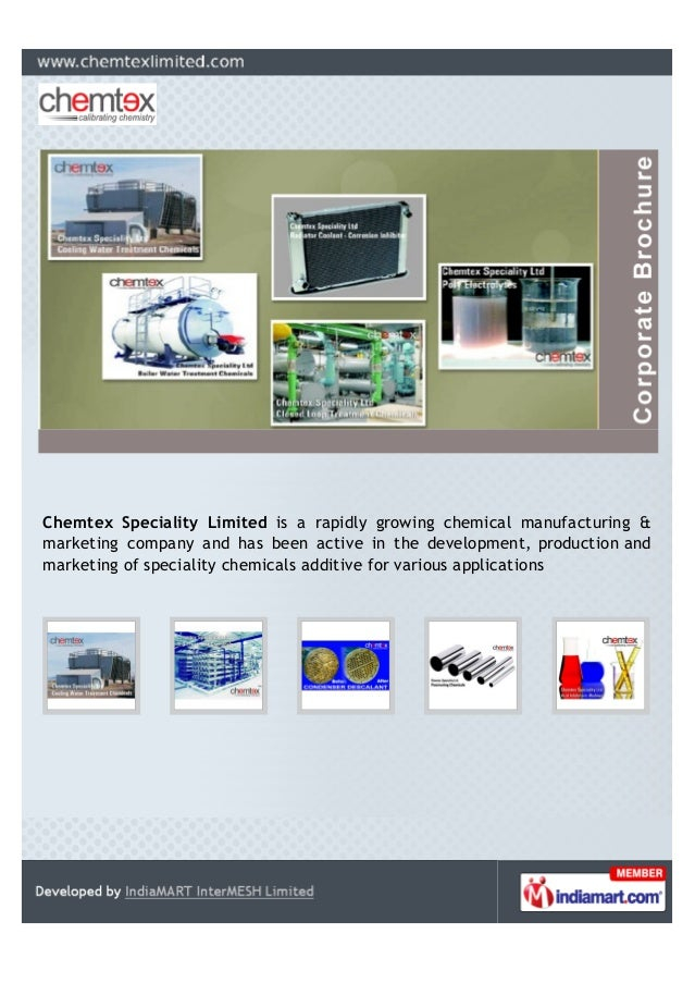 Chemtex Speciality Limited is a rapidly growing chemical manufacturing & marketing company and has been active in the deve...