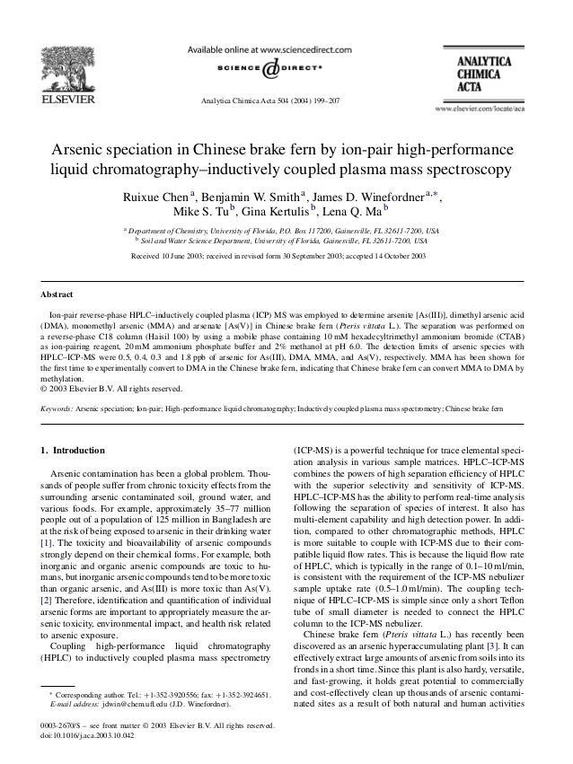 Analytica Chimica Acta 504 (2004) 199–207 Arsenic speciation in Chinese brake fern by ion-pair high-performance liquid chr...