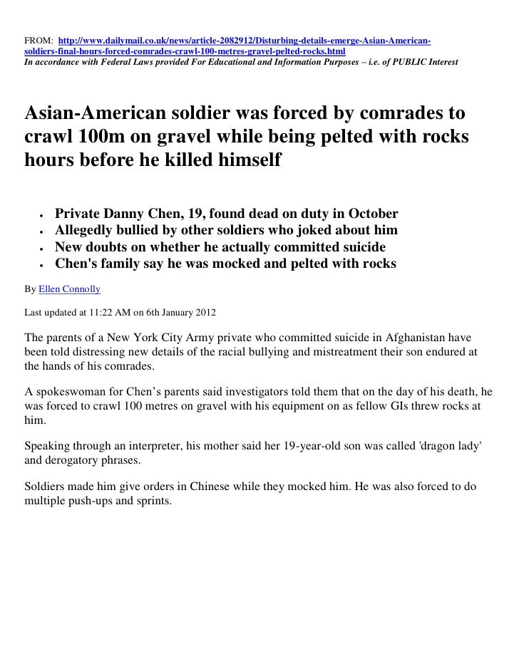 FROM: http://www.dailymail.co.uk/news/article-2082912/Disturbing-details-emerge-Asian-American-soldiers-final-hours-forced...