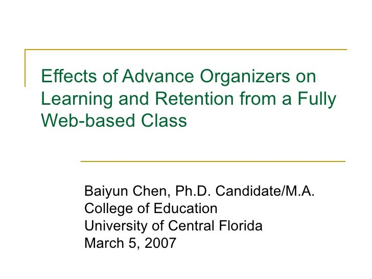 Effects of Advance Organizers on Learning and Retention from a Fully Web-based Class Baiyun Chen, Ph.D. Candidate/M.A. Col...