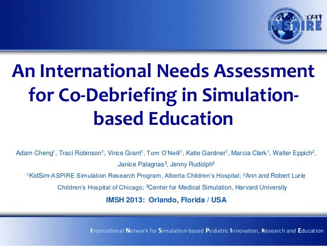 An International Needs Assessment for Co-Debriefing in Simulation-         based EducationAdam Cheng1, Traci Robinson1, Vi...