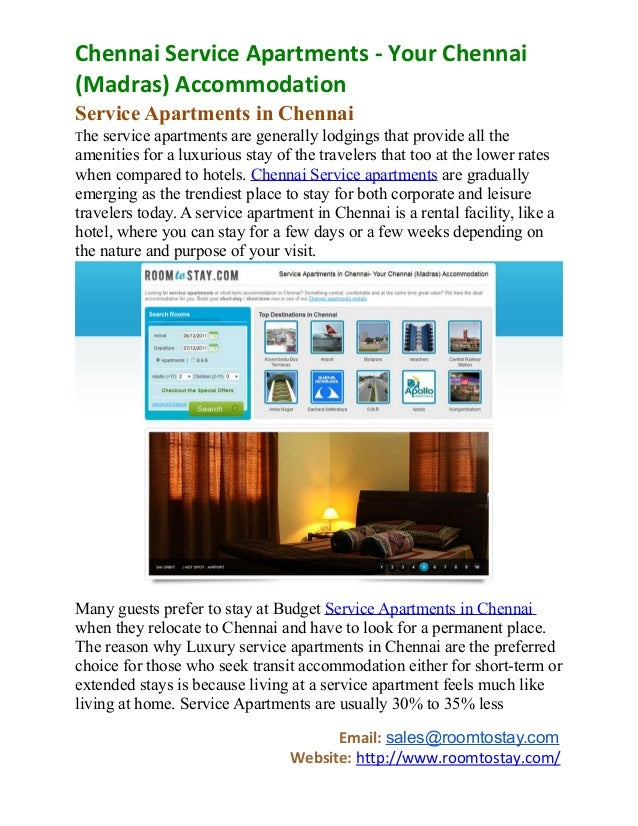 Chennai Service Apartments - Your Chennai (Madras ...