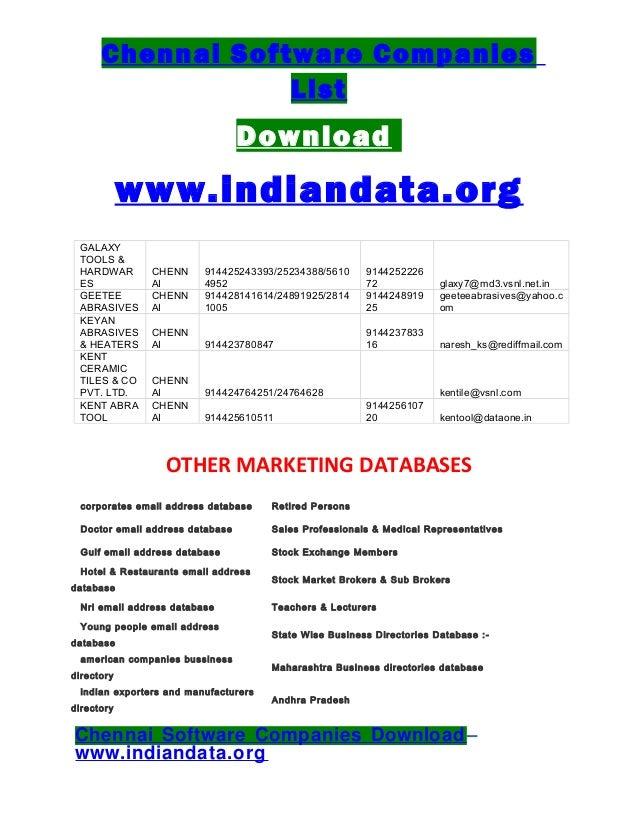 List of companies in chennai pdf995