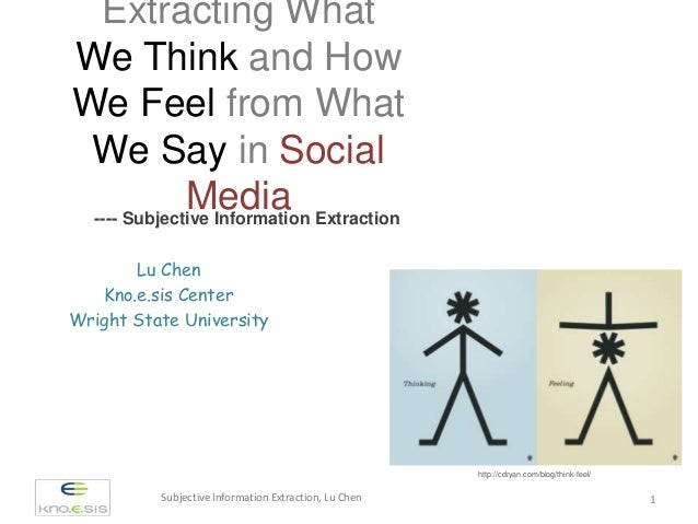 Extracting What We Think and How We Feel from What We Say in Social Media---- Subjective Information Extraction Subjective...