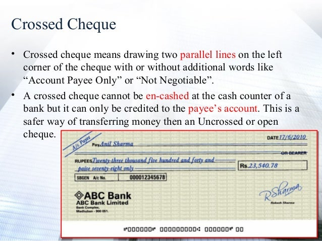 how to write a crossed cheque definition