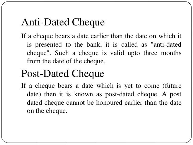 What does post dated mean in Brisbane