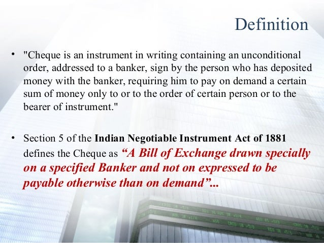 Definition of 'cheque'