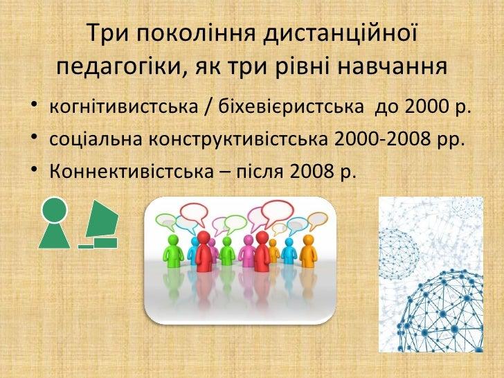 Три покоління дистанційної  педагогіки, як три рівні навчання• когнітивистська / біхевієристська до 2000 р.• соціальна кон...