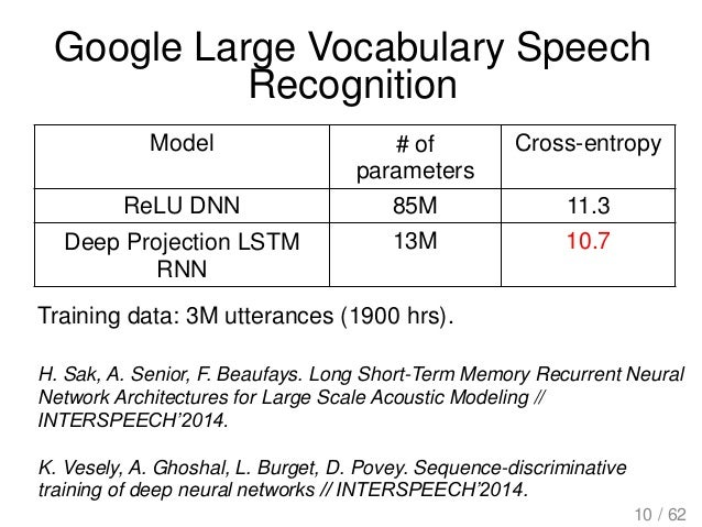 Google Large Vocabulary Speech Recognition H. Sak, A. Senior, F. Beaufays. Long Short-Term Memory Recurrent Neural Network...