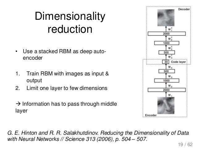 Dimensionality reduction • Use a stacked RBM as deep auto- encoder 1. Train RBM with images as input & output 2. Limit one...