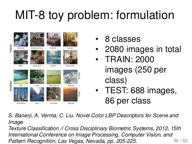 MIT-8 toy problem: formulation • 8 classes • 2080 images in total • TRAIN: 2000 images (250 per class) • TEST: 688 images,...