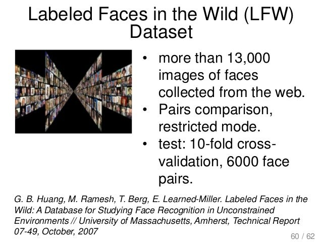 Labeled Faces in the Wild (LFW) Dataset G. B. Huang, M. Ramesh, T. Berg, E. Learned-Miller. Labeled Faces in the Wild: A D...