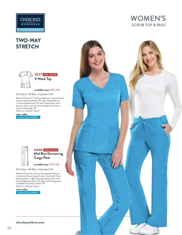b340bdad095 ... 24. cherokeeuniforms.com WOMEN'S SCRUB TOP PANT TWO-WAY STRETCH 4044  NEW COLOR Mid Rise Drawstring Cargo ...