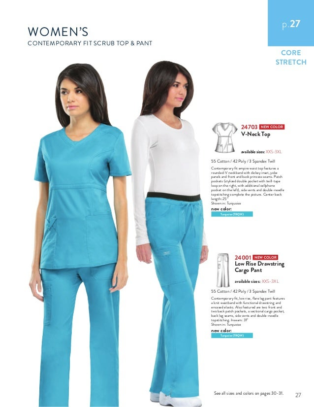 3bec1500090 CORE STRETCH WOMEN'S CONTEMPORARY FIT SCRUB TOP PANT 24703 NEW COLOR V-Neck  ...