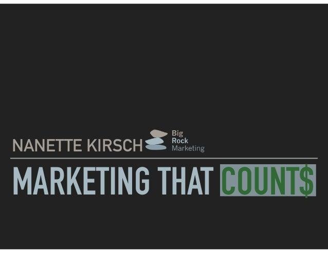NANETTE KIRSCH MARKETING THAT COUNT$