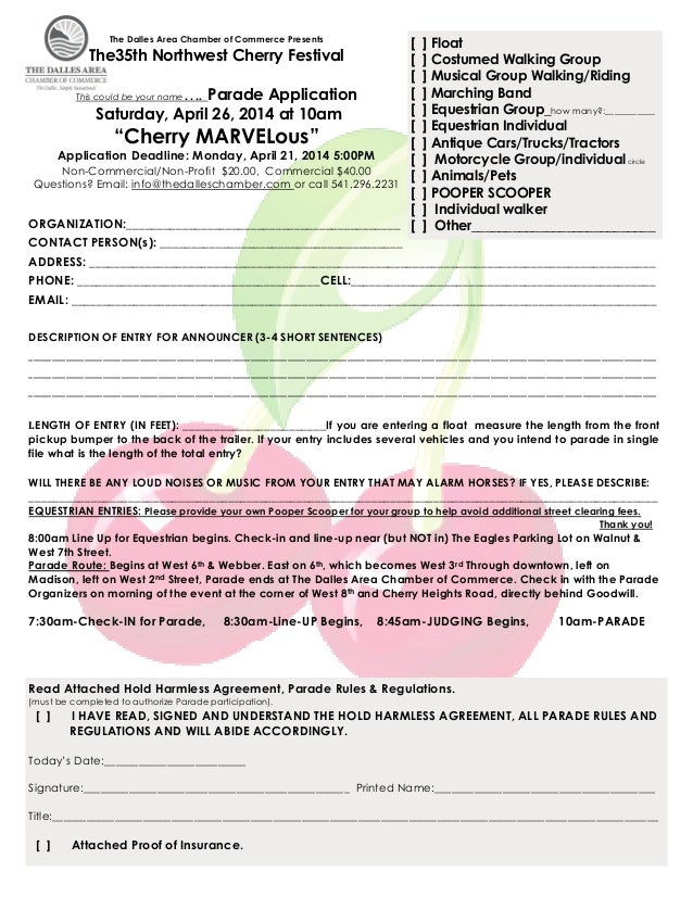 The Dalles Area Chamber of Commerce Presents  [ [ [ [ This could be your name…. Parade Application [ Saturday, April 26, 2...