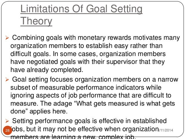 goal setting theory essay Essay about the goal setting theory 964 words | 4 pages the goal setting  theory 1-according to the work nature and my interviews with the employee i  think.
