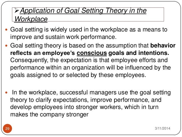 goal setting theory essays Goals setting theory since all members of this group have work experience in various fields and industries we all know about the importance of havi.