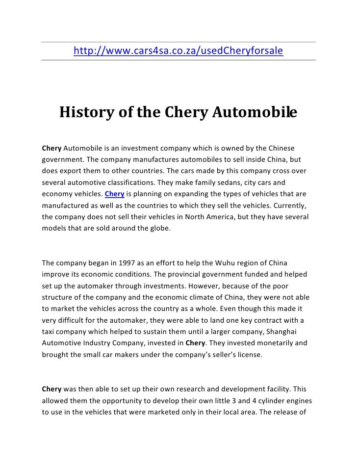 http://www.cars4sa.co.za/usedCheryforsale     History of the Chery AutomobileChery Automobile is an investment company whi...