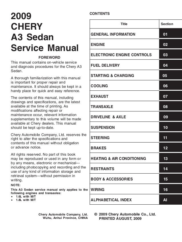 chery orinoco m11 service manual rh slideshare net La Chery Coleman Powermate 6250 Generator Manual