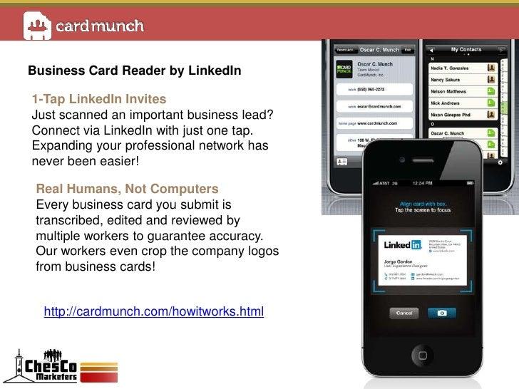 Chescoim meetup march 2012 lets learn linkedin business card reader reheart Gallery