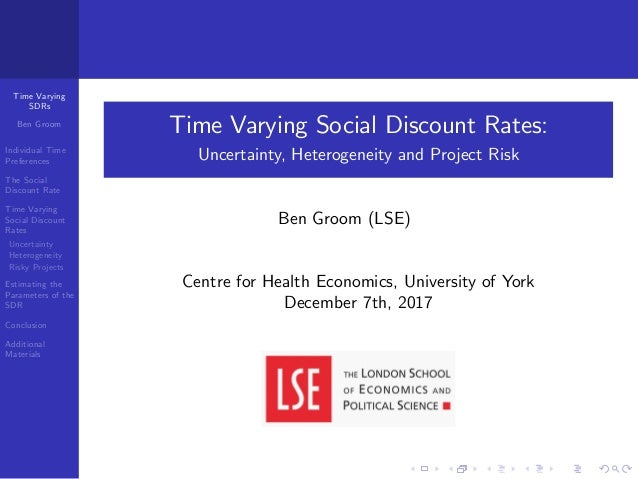 Time Varying SDRs Ben Groom Individual Time Preferences The Social Discount Rate Time Varying Social Discount Rates Uncert...