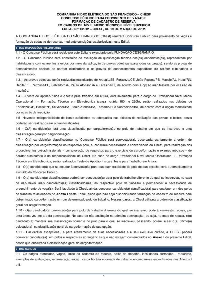 COMPANHIA HIDRO ELÉTRICA DO SÃO FRANCISCO – CHESF                               CONCURSO PÚBLICO PARA PROVIMENTO DE VAGAS ...