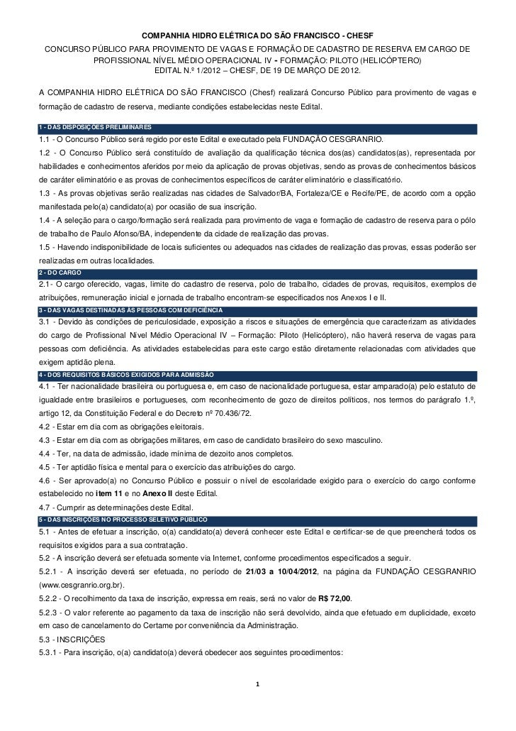 COMPANHIA HIDRO ELÉTRICA DO SÃO FRANCISCO - CHESF CONCURSO PÚBLICO PARA PROVIMENTO DE VAGAS E FORMAÇÃO DE CADASTRO DE RESE...