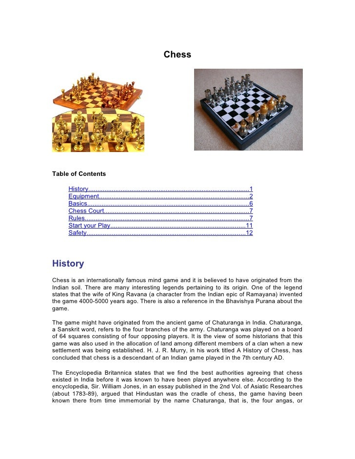 ChessTable of Contents      History..........................................................................................